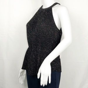 1State Blk&Red Dots Pleats/Accordion Halter Top Sm